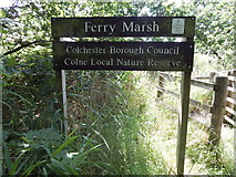 TM0321 : Ferry Marsh sign by Hamish Griffin