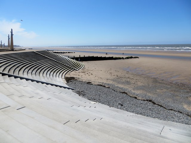 Cleveleys beach and sea wall
