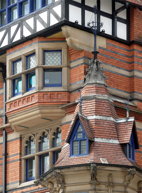 Detail of Queen's Chambers, Long Row, Nottingham by Stephen Richards