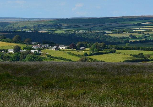 View over East Anstey Common towards Hawkridge, Devon
