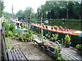 TQ7458 : Close up of a garden next to a narrow boat by Marathon