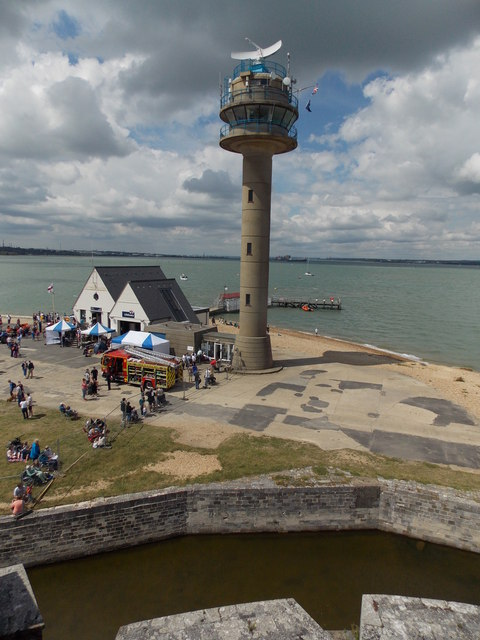 Calshot: the lifeboat and coastguard stations from the castle