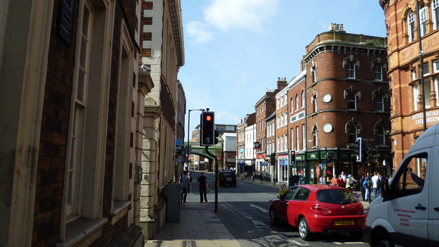 Part of Foregate Street in Worcester in summer