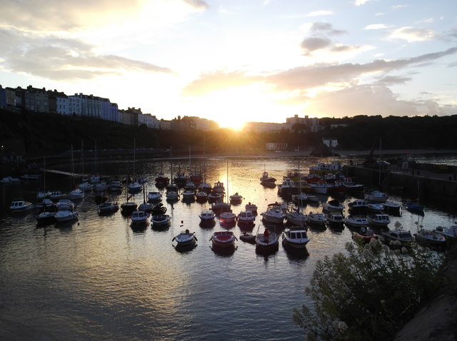 Tenby harbour at sunset