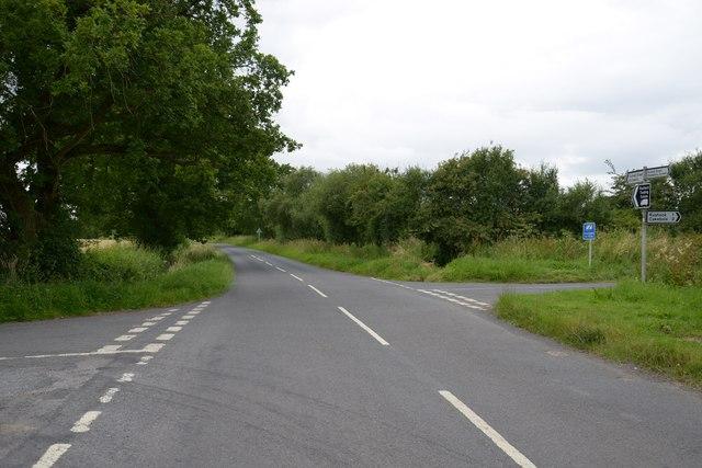 Road junction near Upper Hyde