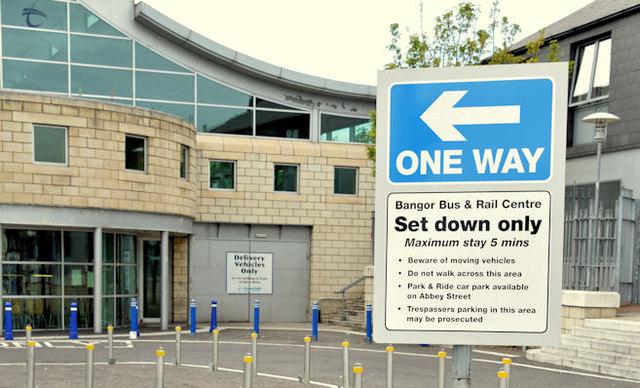 Waiting restriction sign, Bangor station (July 2014)