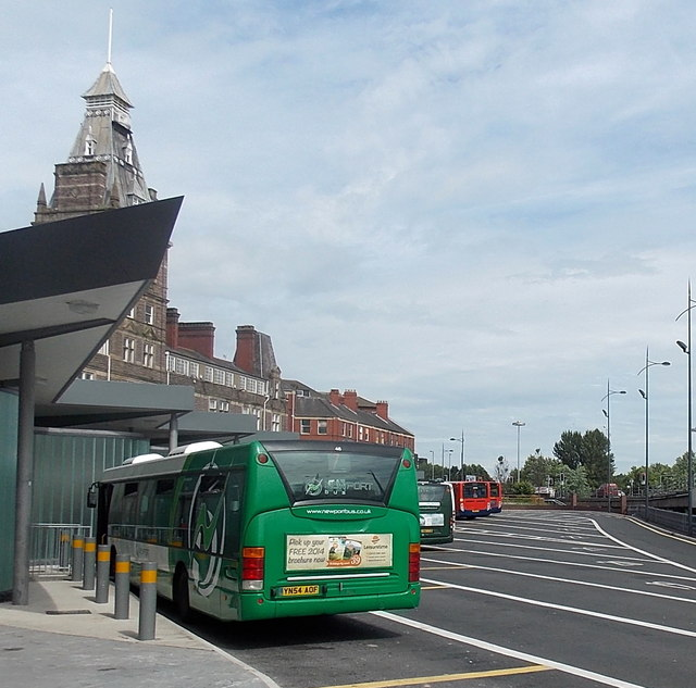 Buses in Market Square bus station, Newport
