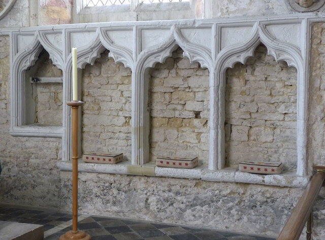 Church of St Mary, Chalgrove - piscina and sedilia