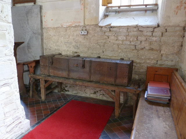 Church of St Mary, Chalgrove - the bier and parish chest