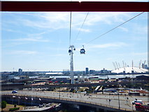 TQ3980 : Silvertown Road seen on the approach to the first pylon on Emirates Air Line by Shazz