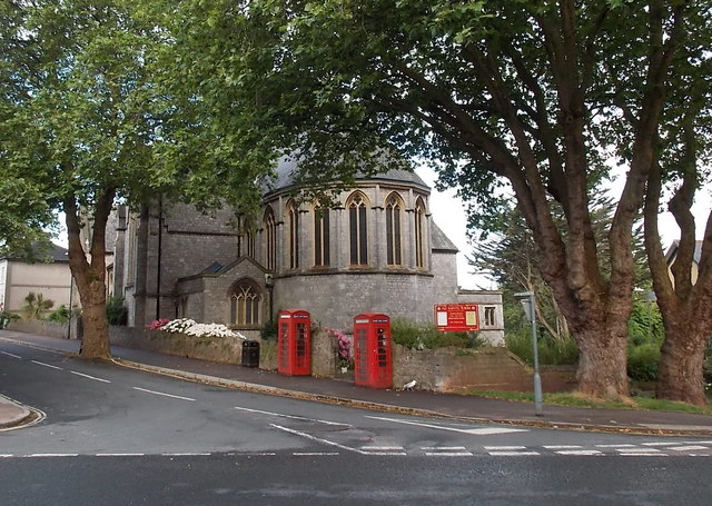 Two phoneboxes at the edge of All Saints Church, Torre, Torquay