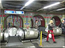 TQ2981 : Tottenham Court Road tube station - Paolozzi mosaic, escalators (2) by Mike Quinn
