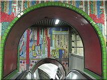 TQ2981 : Tottenham Court Road tube station - Paolozzi mosaic, escalators (4) by Mike Quinn
