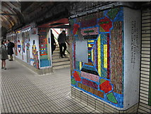 TQ2981 : Tottenham Court Road tube station - Paolozzi mosaic, Central Line (5) by Mike Quinn