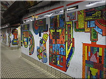 TQ2981 : Tottenham Court Road tube station - Paolozzi mosaic, Central Line (6) by Mike Quinn