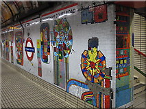 TQ2981 : Tottenham Court Road tube station - Paolozzi mosaic, Central Line (7) by Mike Quinn