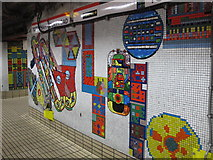 TQ2981 : Tottenham Court Road tube station - Paolozzi mosaic, Central Line (20) by Mike Quinn