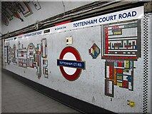 TQ2981 : Tottenham Court Road tube station - Paolozzi mosaic, Northern Line (12) by Mike Quinn