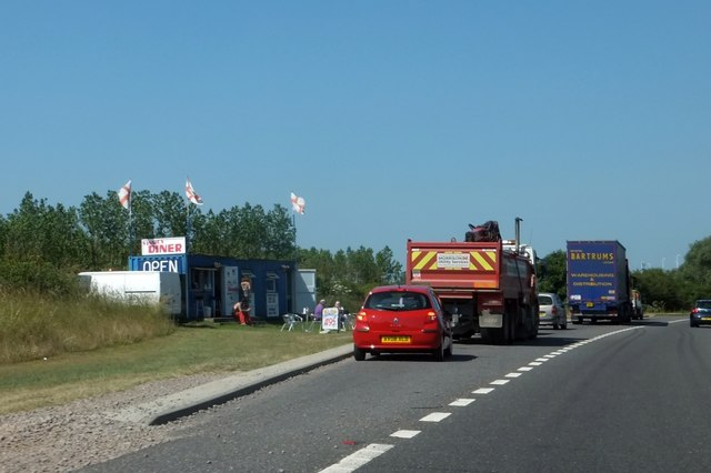 Lay-by with snack bar on Kelvedon by-pass