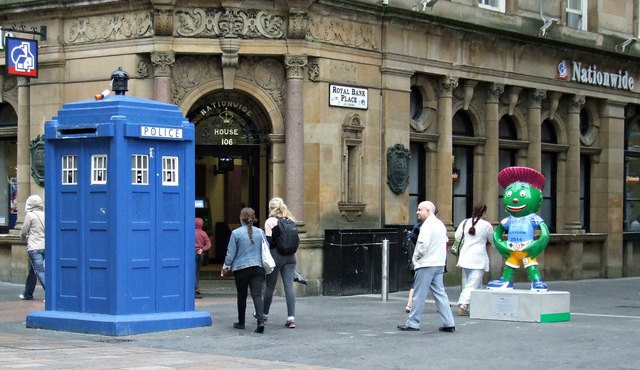 Police box and thistle