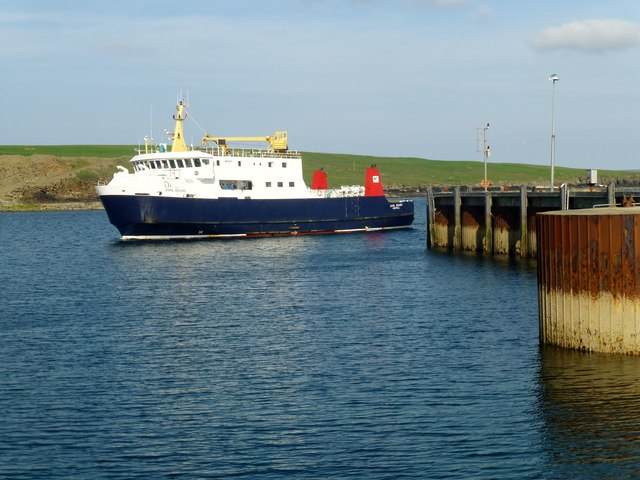 Ferry Arriving At Westray