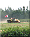 TM0793 : Armoured tracked vehicle at Old Buckenham airfield by Evelyn Simak