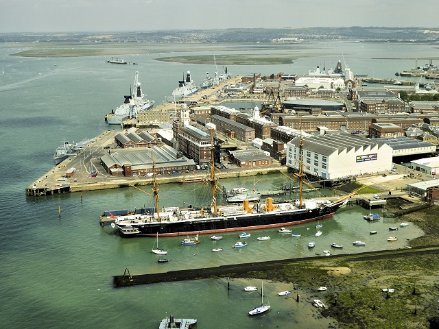 Portsmouth Harbour, The Naval Dockyards and HMS Warrior