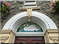 SO0450 : Swan Plasterwork above Door, Builth Wells, Powys by Christine Matthews