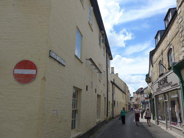 Looking from Gosditch Street into Black Jack Street