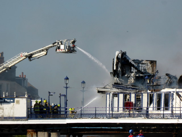 Fire fighting at Eastbourne Pier