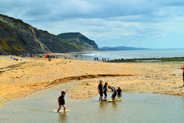 The river and East Beach, Charmouth