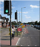 TL4661 : Milton Road: cycle lane closed by John Sutton