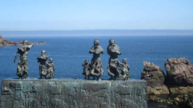 Figures on the Eyemouth Fishing Disaster memorial sculpture, St Abbs