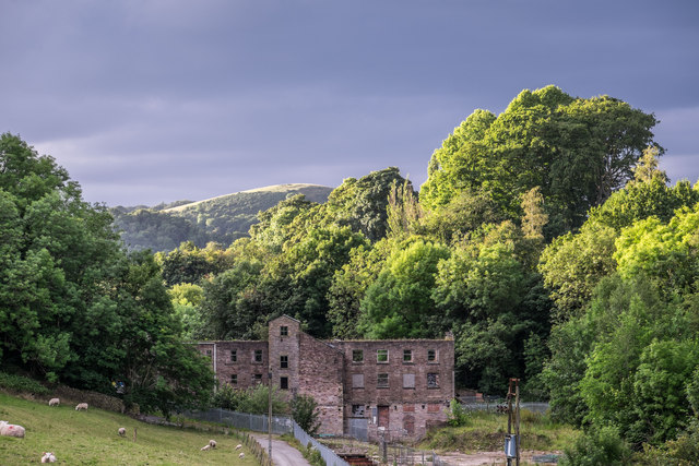 Towards the derelict Ingersley Mill and 'The Nab' hill beyond