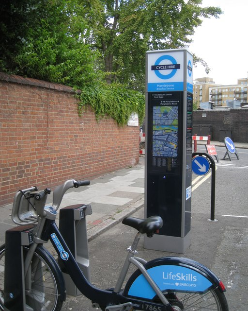 Cycle hire station, northeast end of Broadley Terrace