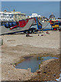 TQ1402 : Fairground, Worthing Beach from the Old Lido, Sussex by Christine Matthews