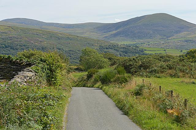 Hill road climbing out of Dyffryn Artro