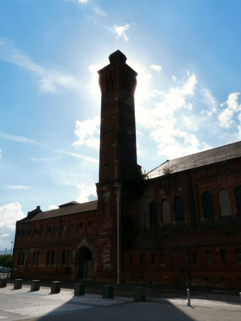 Swimming Baths Tower with the sun behind