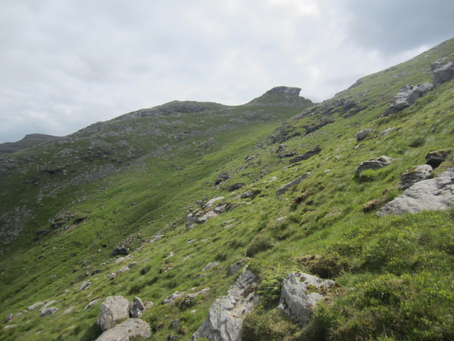 Rough ground approaching the North Peak