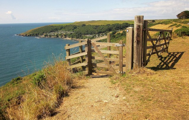 Gates on coast path above Piskey's Cove