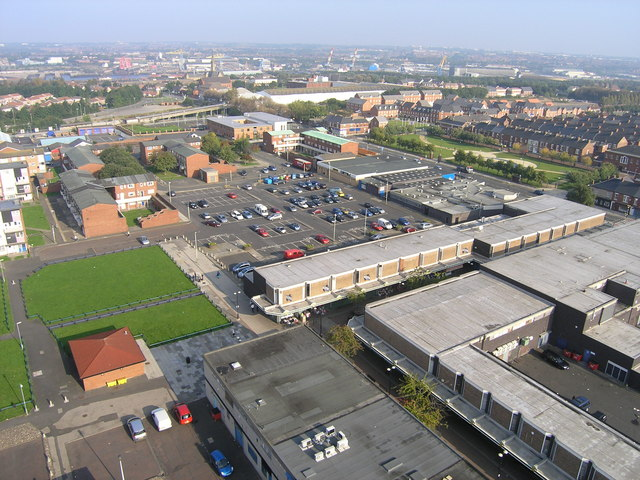 Aerial View of Hebburn Town Centre in South Tyneside