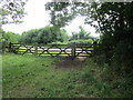 SP5829 : Gates at the end of the bridleway by Jonathan Thacker