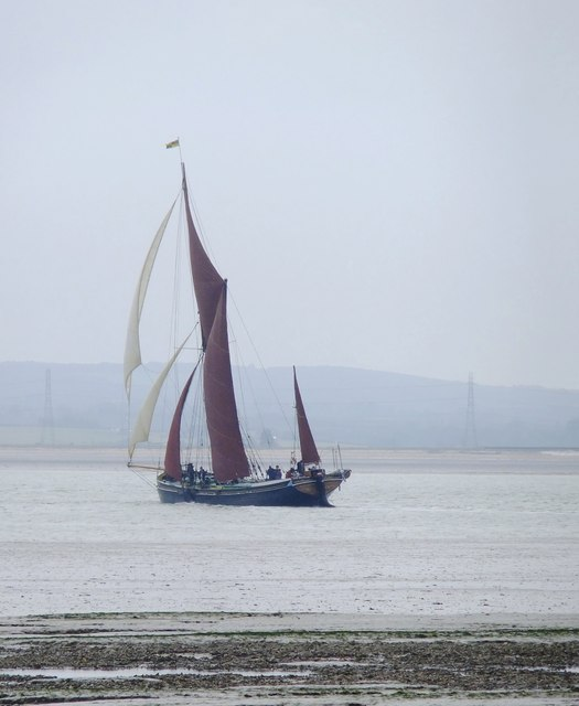 Sailing-barge 'Marjorie' tacking across the Swale