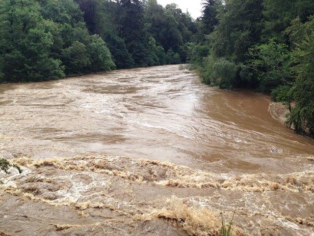 River Findhorn in flood near Randolph's Leap