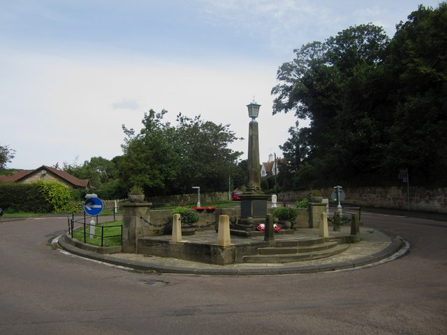 Roundabout and war memorial, Alnmouth