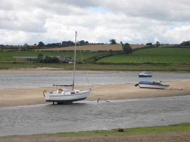 Pleasure craft standing in the River Aln