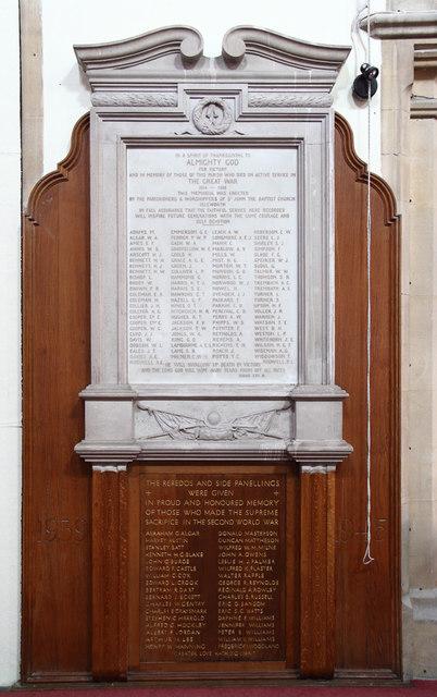 St John the Baptist, Isleworth - War Memorial WWI & WWII