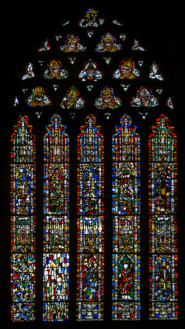 Stained glass window, s.II, Wells Cathedral