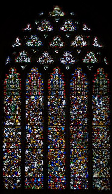 Stained glass window, s.III, Wells Cathedral
