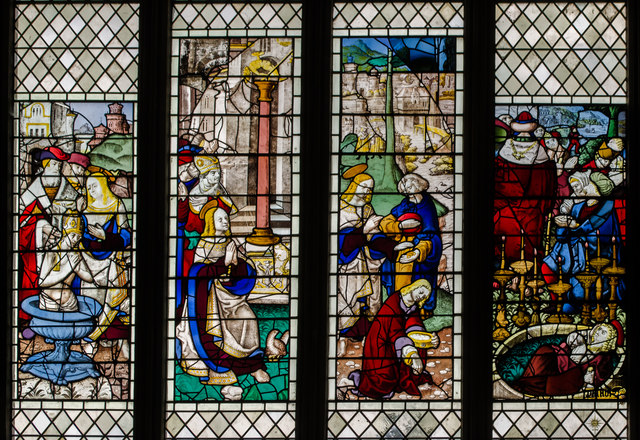 Stained glass window, s.VII, Wells Cathedral